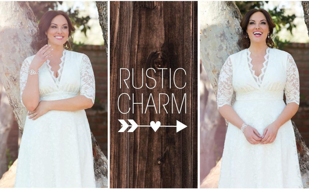 Rustic Style Wedding Dress Idea for Plus Size Bride