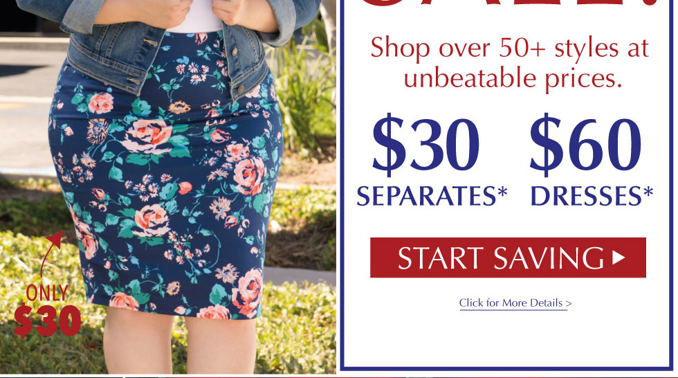 $30 Separates and $60 Dresses