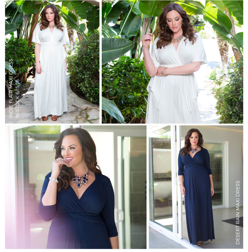 Trendy Plus Size Maxi Dresses in blue or white