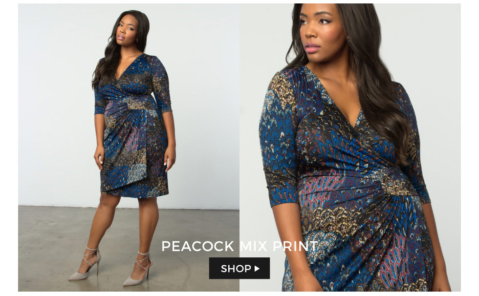 Plus size cocktail dress in peacock print