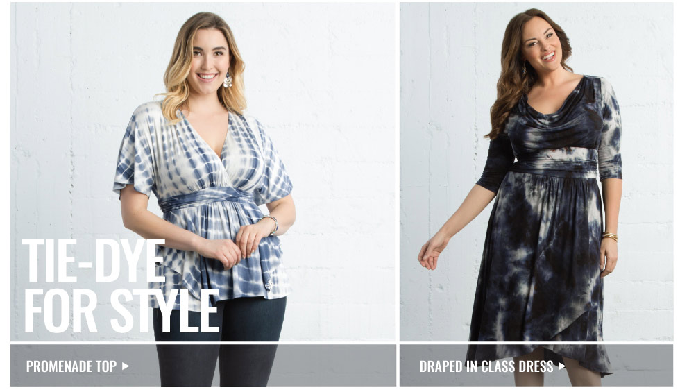 Plus size dresses and tops in tie-dye prints