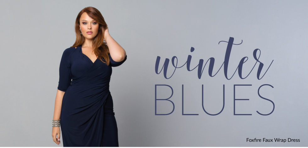 Plus Size Dresses and Separates in Blue for the Holidays