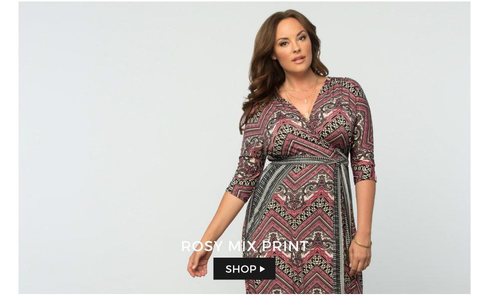 Plus Size Wrap Dresses in Geometric Prints