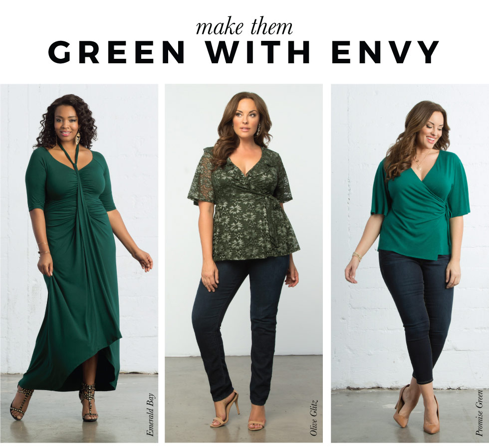 plus size tops in green
