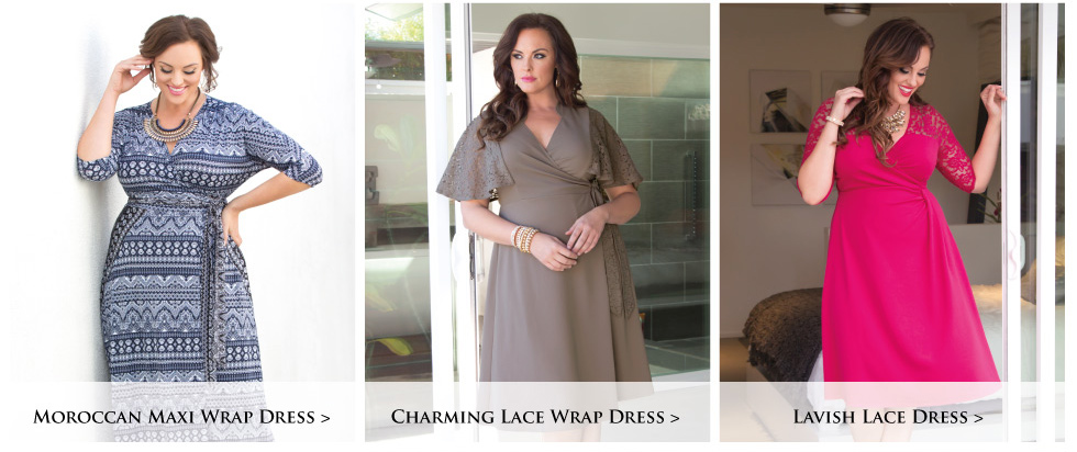 Trendy Plus Size wrap dresses and faux wrap dresses