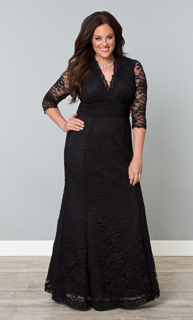 long black lace wedding guest dresses | Kiyonna