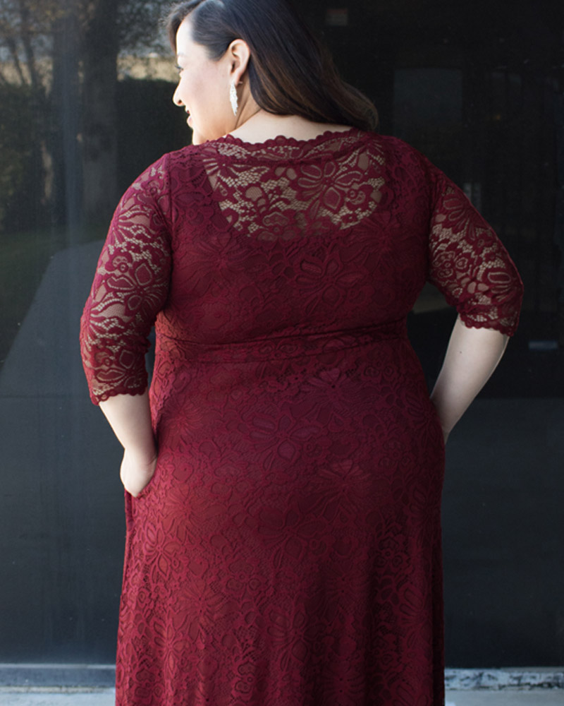Eileen shows off the backside of the Leona lace gown 2x and can see the beautiful detail in the lace