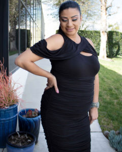 Alma shows of the ruching and draping of the Bianca Ruched cocktail dress, plus size 1x