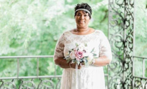 Here comes bride, Tamara in her retro-inspired lace wedding dress