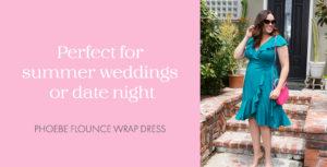 Model in Phoebe Flounce Wrap Dress