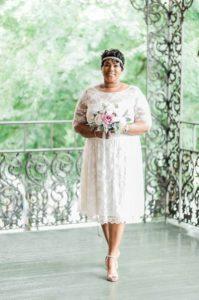 Tamara looks so elegant and romantic in her retro-inspired lace wedding dress