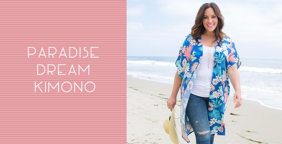 Our plus size weekend separates include a kimono this season.