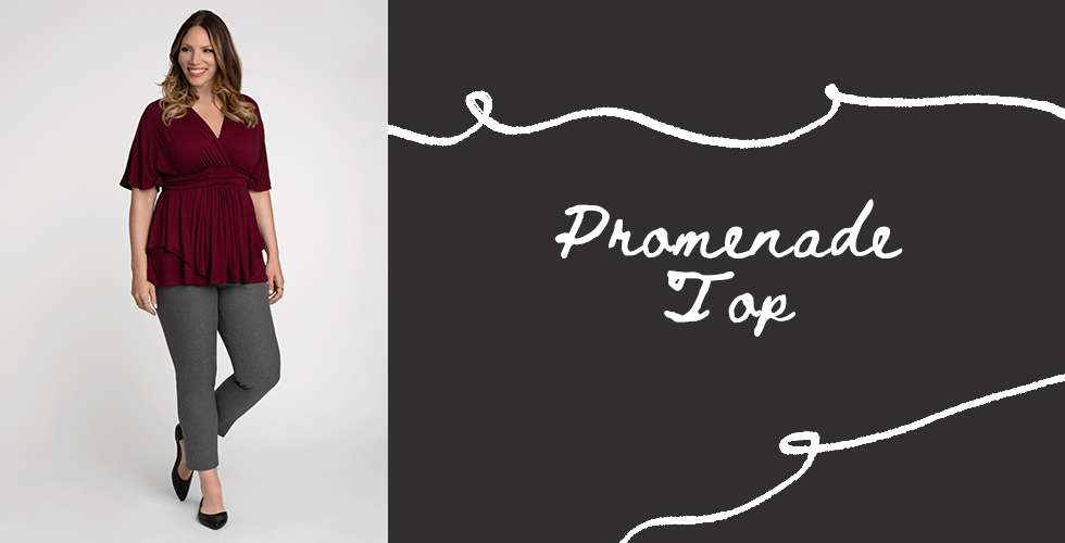 Our Promenade Top in burgundy.