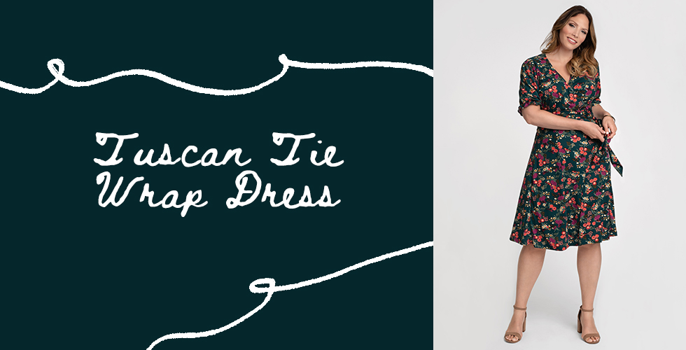 Our Tuscan Tie Wrap Dress in Green Songbird Print is one of our top plus size styles for fall.