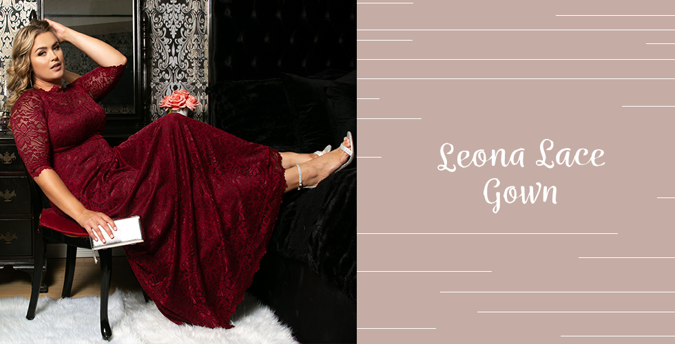 Holiday outfits for plus size always include a classic dress like our Leona lace Gown.