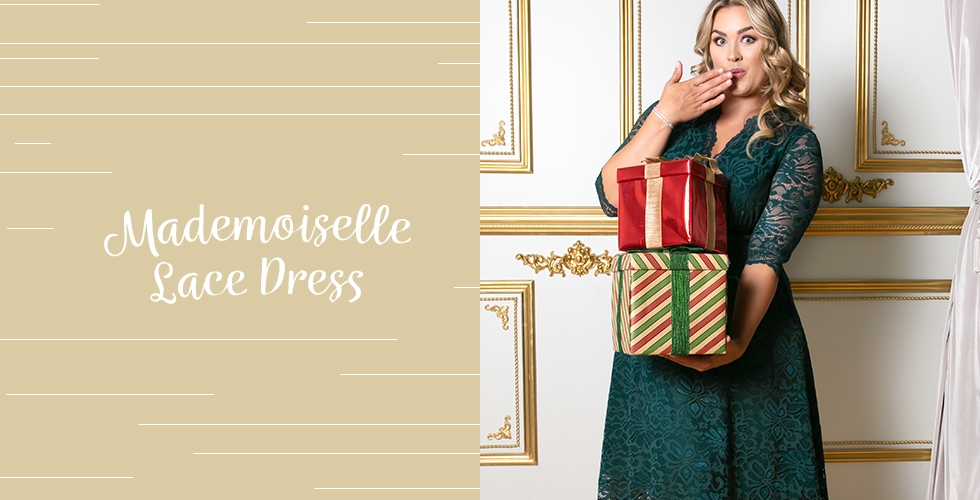 Holiday outfits for plus size include our Mademoiselle Lace Dress.