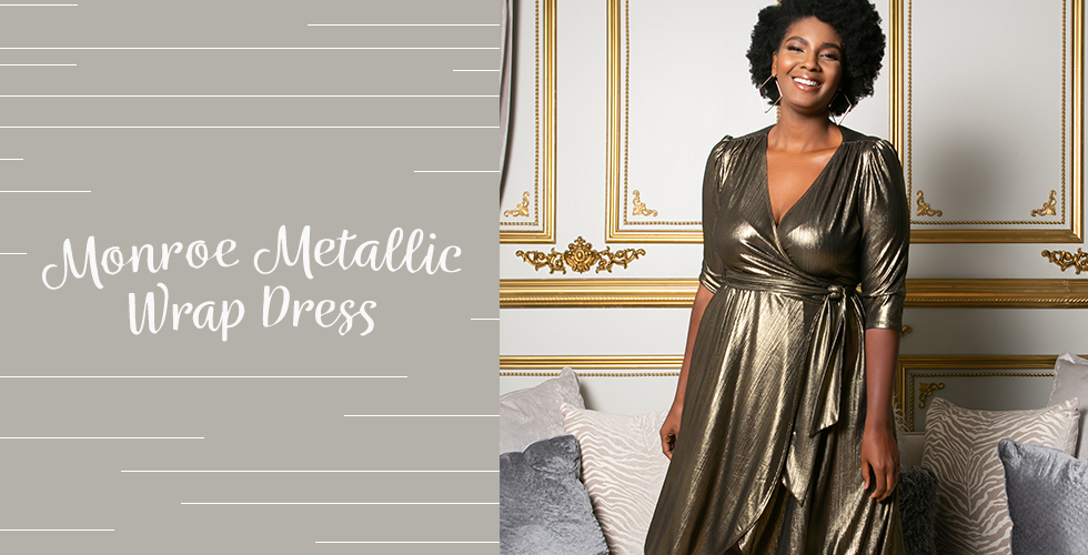 Our Monroe wrap dress is perfect when you're shopping for holiday outfits for plus size.