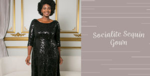 Our holiday outfits for plus size include our stunning Socialite Sequin Gown.