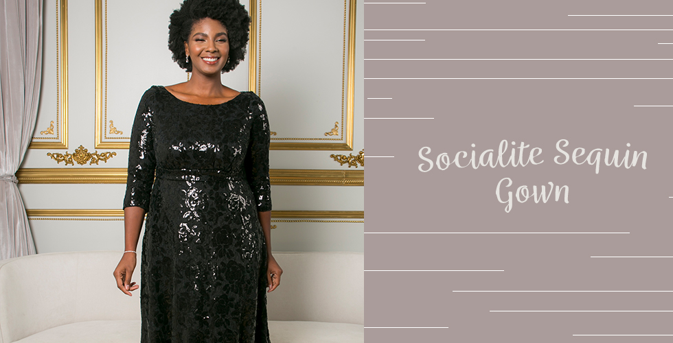 When you're shopping for holiday outfits for plus size, our Socialite Sequin Gown is a stunner for the holidays with shiny, eye-catching sequins.
