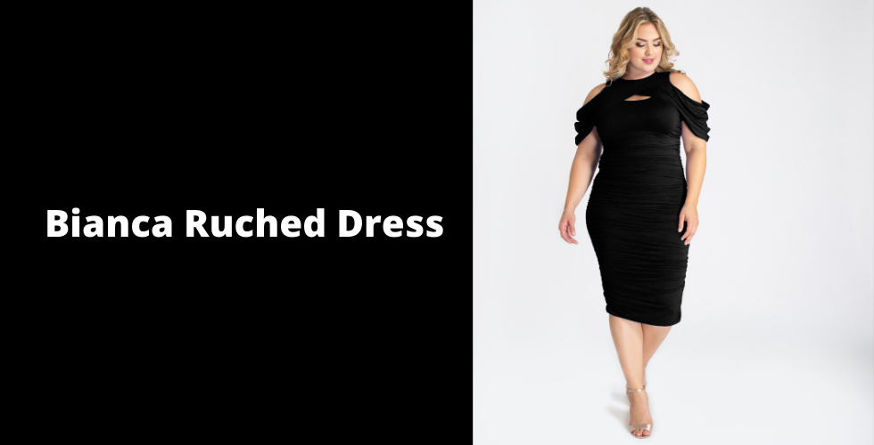 Plus Valentine's Day dresses should include sexy bodycon styles like our Bianca Ruched Dress.