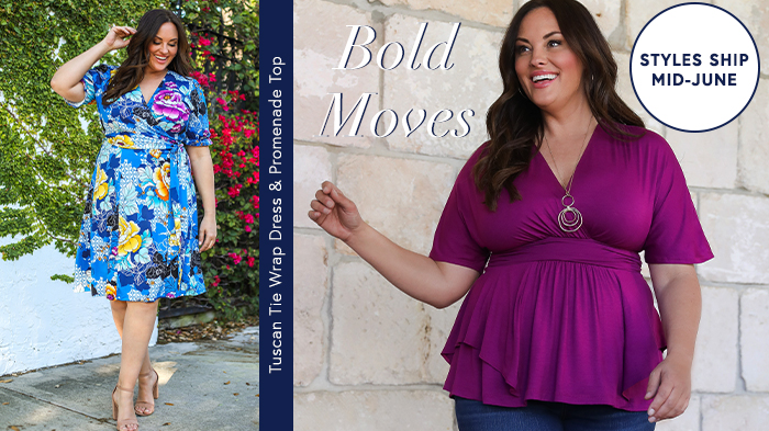 Bold Moves | The Tuscan Tie Wrap Dress and Promenade Top are back in stunning shades of bold colors.