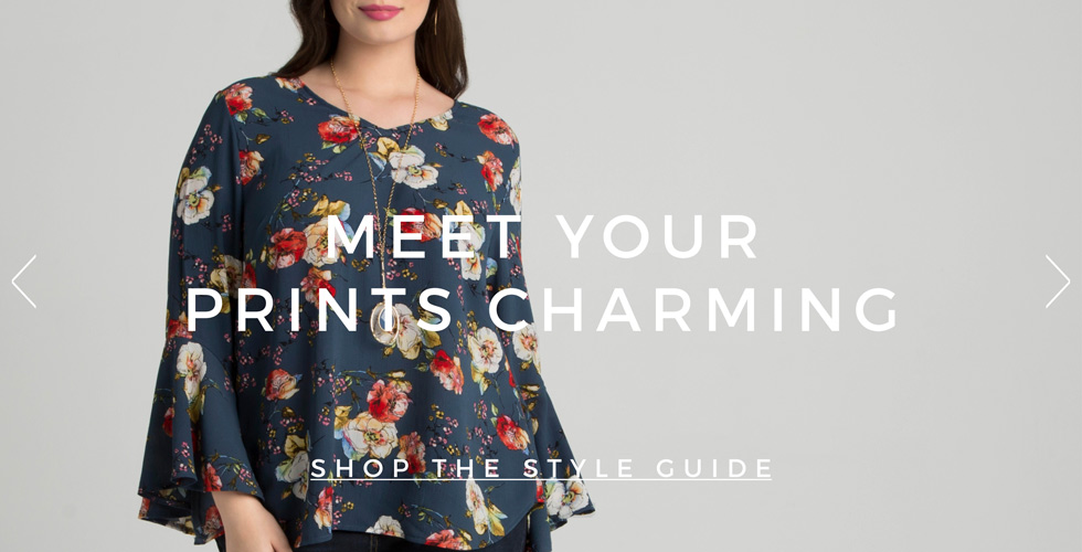 Plus size clothing in floral prints