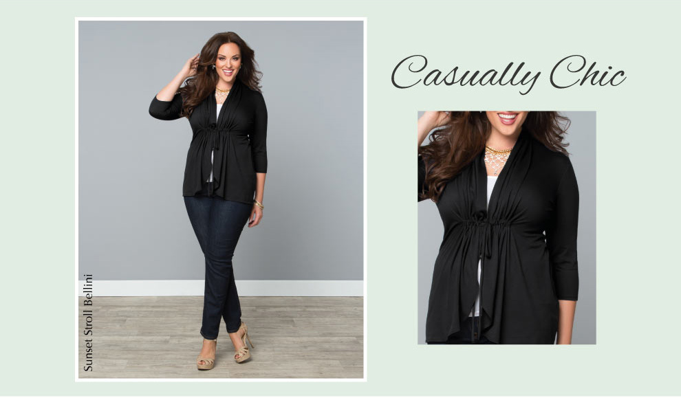 Plus Size Tops | Sunset Stroll Bellini in Black Noir
