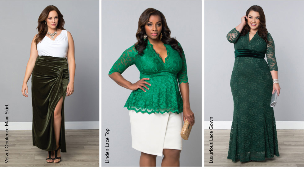 Plus size evening wear in green