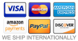 We Accept: Visa, MasterCard, American Express, Discover and PayPal