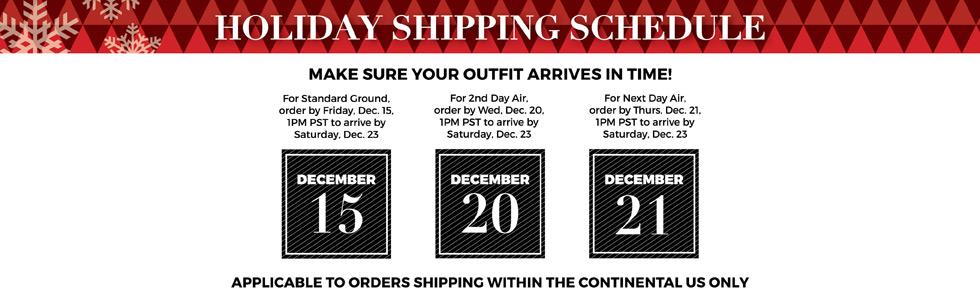 Kiyonna Holiday Shipping Schedule