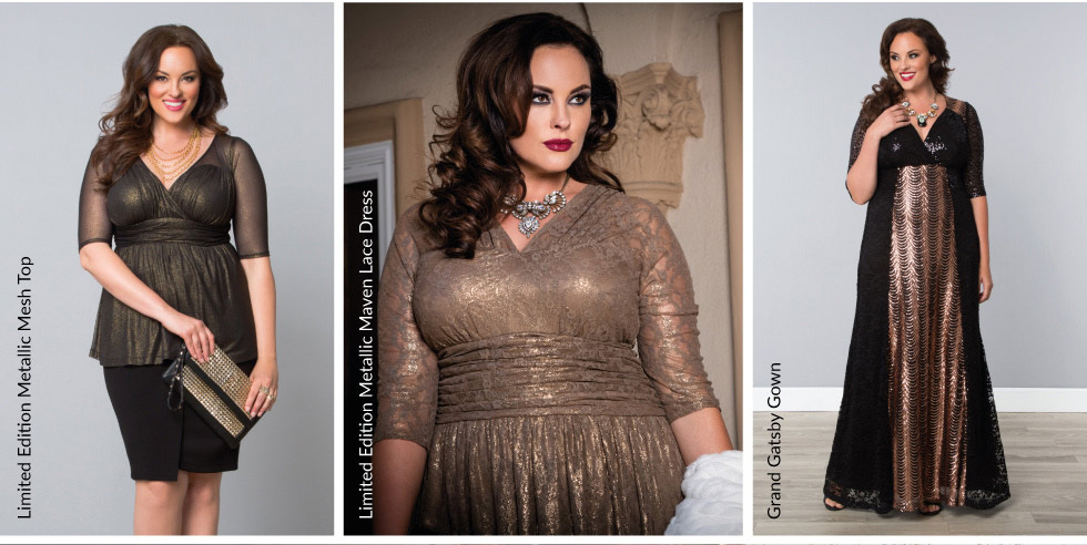 Plus Size Special Occasion Dresses and Tops in Gold