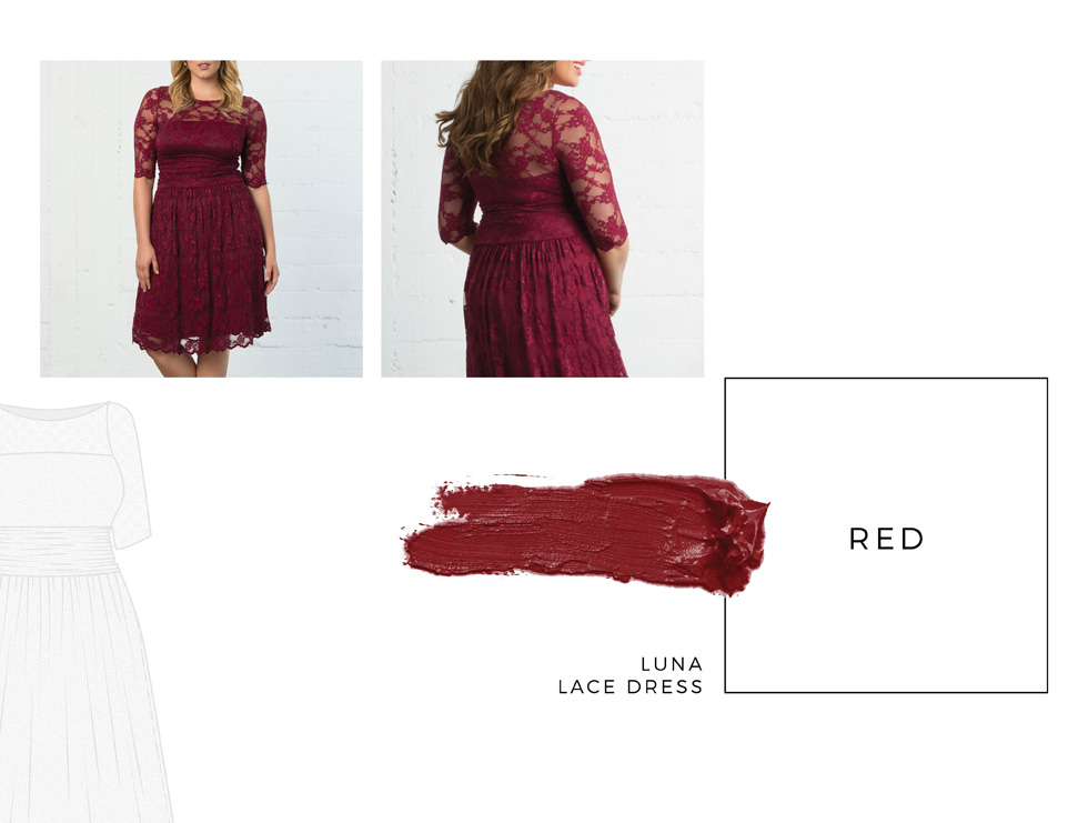 Plus size lace dresses in red