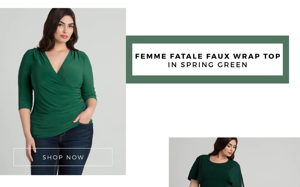 Plus size office wear tops in green