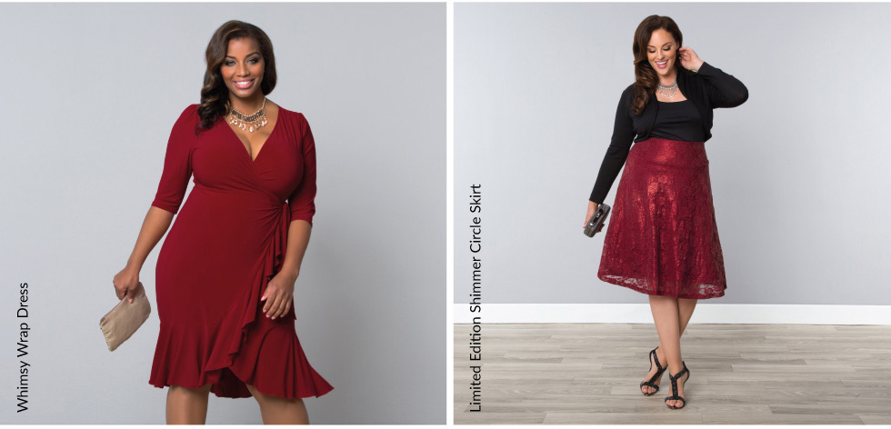 Plus size womens dresses and lace skirt in red
