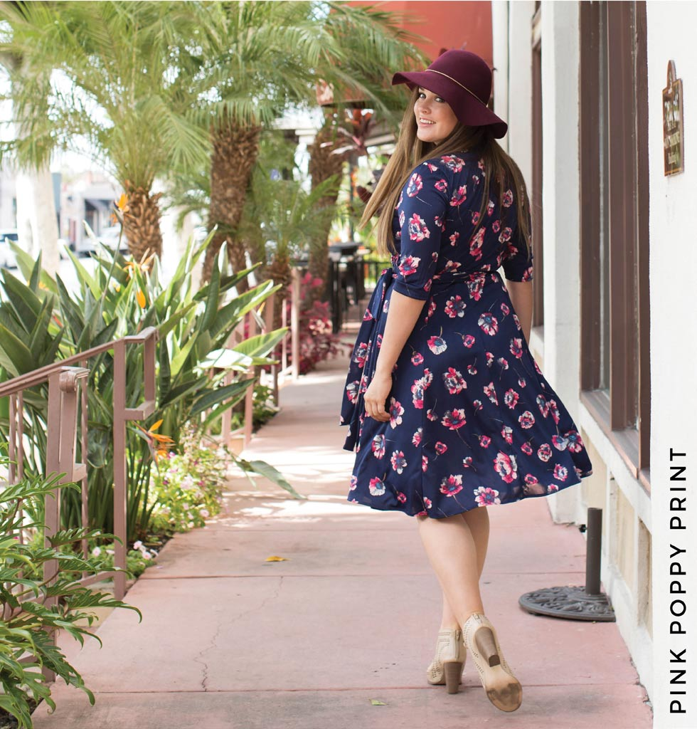 Essential Wrap Dress in Pink Poppy Print