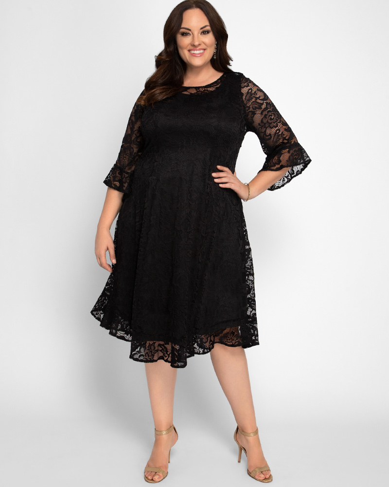 1920s Plus Size Flapper Dresses, Gatsby Dresses, Flapper Costumes Kiyonna Womens Plus Size Livi Lace Dress $138.00 AT vintagedancer.com
