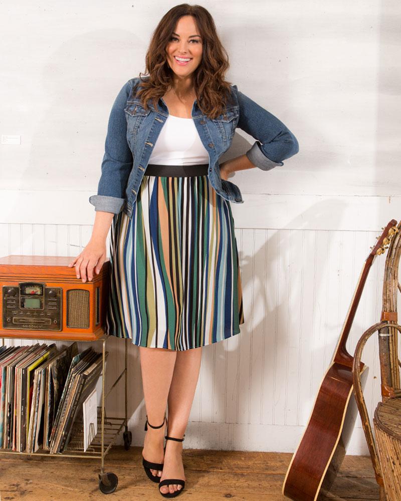 Kiyonna Womens Plus Size Boardwalk Bliss Skirt