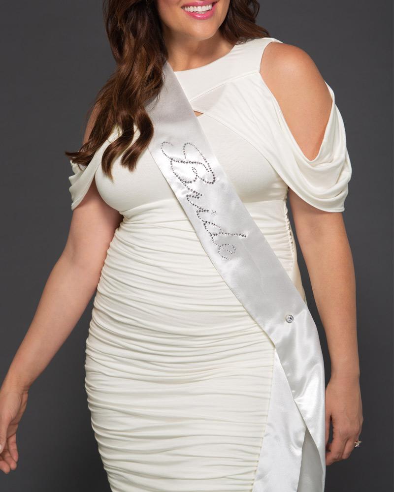 PLUSSIZE WEDDING FASHIONS,Kiyonna Womens Plus Size Bride-To-Be Sparkle Sash - Final Sale!