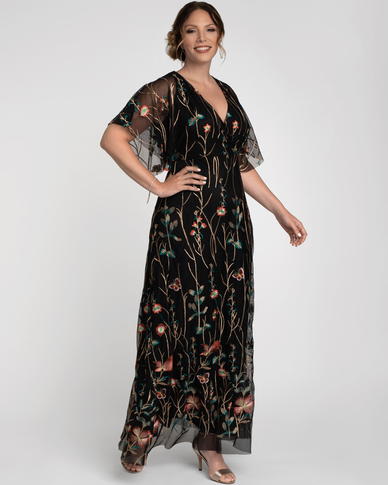 1920s Formal Dresses & Evening Gowns Guide Kiyonna Womens Plus Size Embroidered Elegance Evening Gown $328.00 AT vintagedancer.com