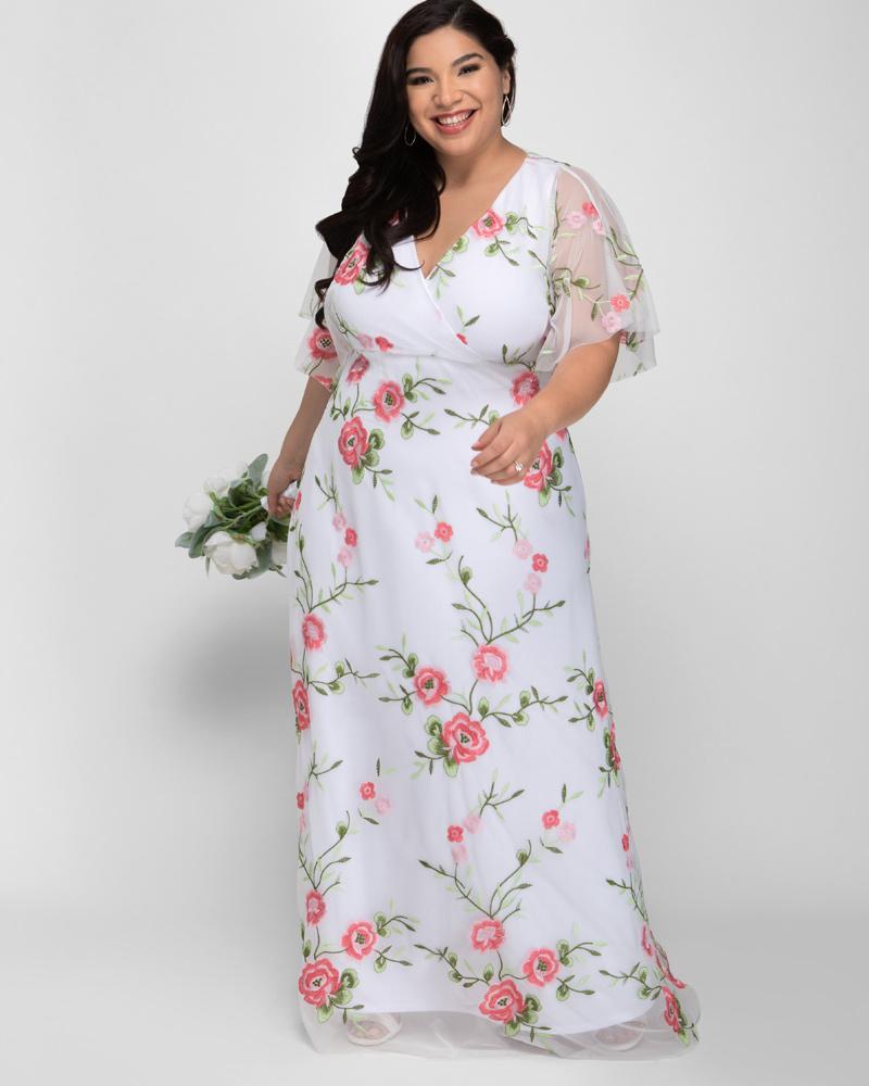 60s Wedding Dresses | 70s Wedding Dresses Kiyonna Womens Plus Size Embroidered Elegance Evening Gown $328.00 AT vintagedancer.com