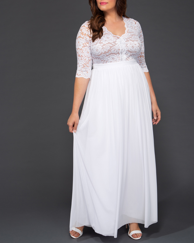 60s Wedding Dresses | 70s Wedding Dresses Kiyonna Womens Plus Size Everlasting Love Wedding Gown $288.00 AT vintagedancer.com