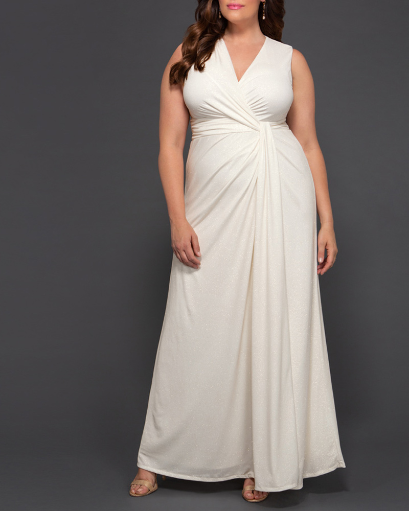 1930s Style Wedding Dresses | Art Deco Wedding Dress Kiyonna Womens Plus Size Gilded by Moonlight Gown $198.00 AT vintagedancer.com