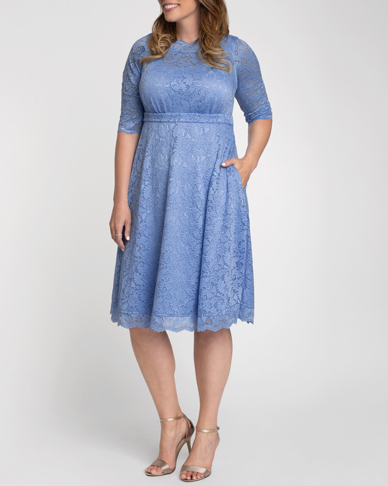 Plus Size Retro Dresses 50s, 60s ,70s, 80s, 90s Kiyonna Womens Plus Size Lacey Cocktail Dress - Sale $133.20 AT vintagedancer.com