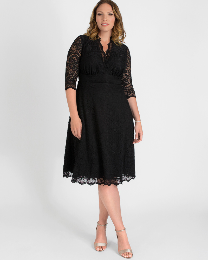 What Did Women Wear in the 1950s? 1950s Fashion Guide Kiyonna Womens Plus Size Special Occasion Mademoiselle Lace Cocktail Dress $148.00 AT vintagedancer.com