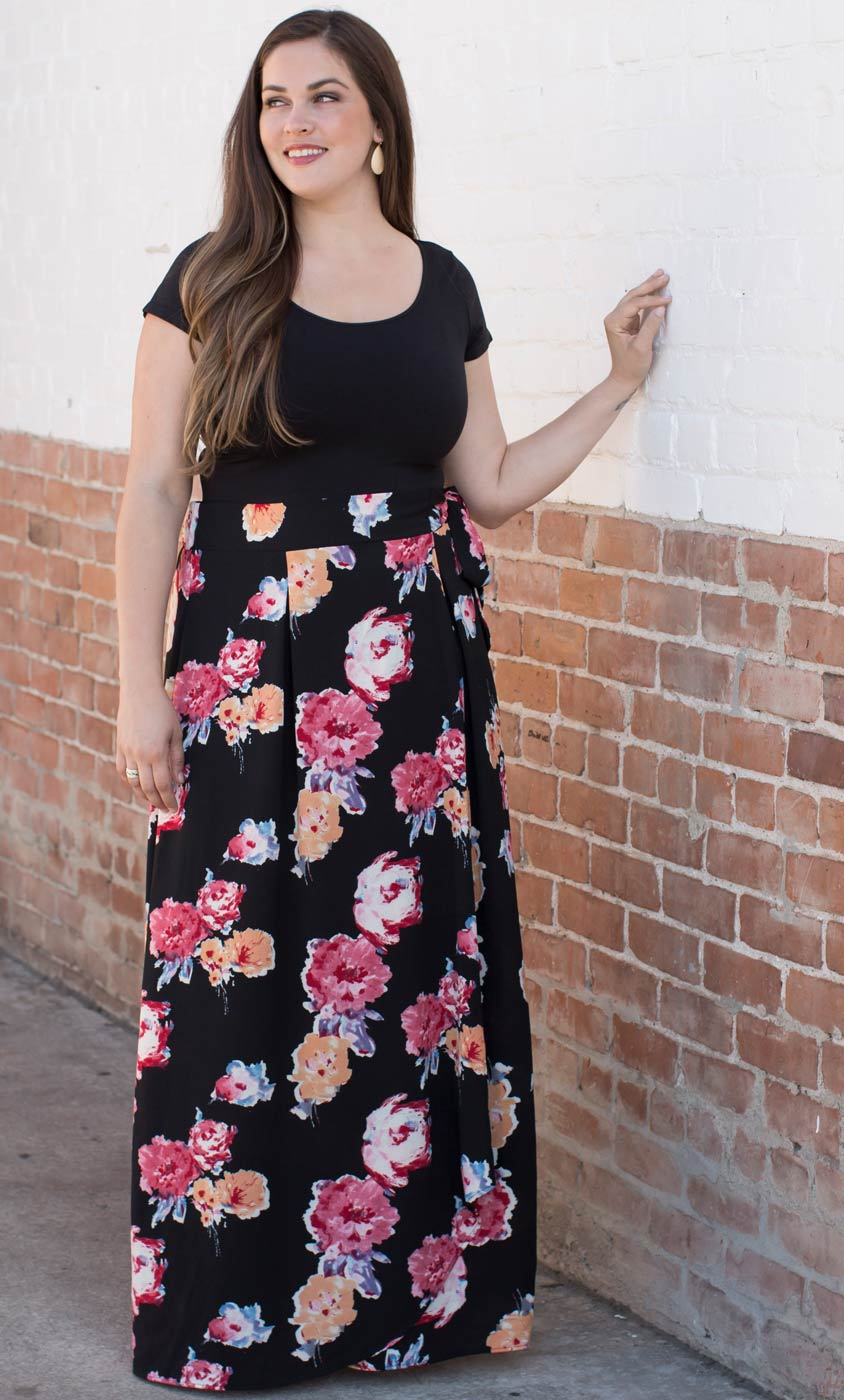 aa5ff131d Plus Size Faux Wrap Maxi Dress | Floral Chiffon Maxi Skirt