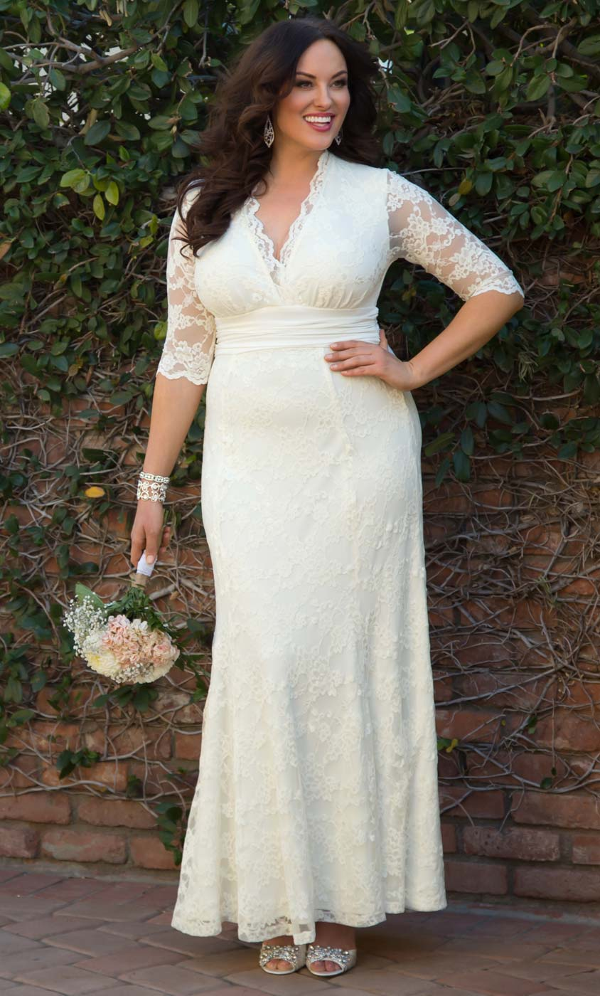 plus size dress for wedding plus size wedding dresses amour lace wedding gown kiyonna 6664