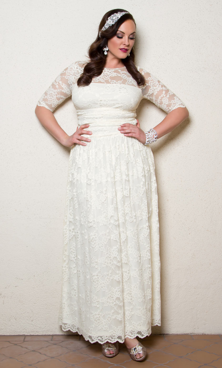 Plus size wedding dress lace illusion gown kiyonna for Wedding dresses for thick brides