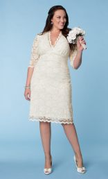 Luxe Short Scalloped Lace Wedding Dress, Ivory (Womens Plus Size)