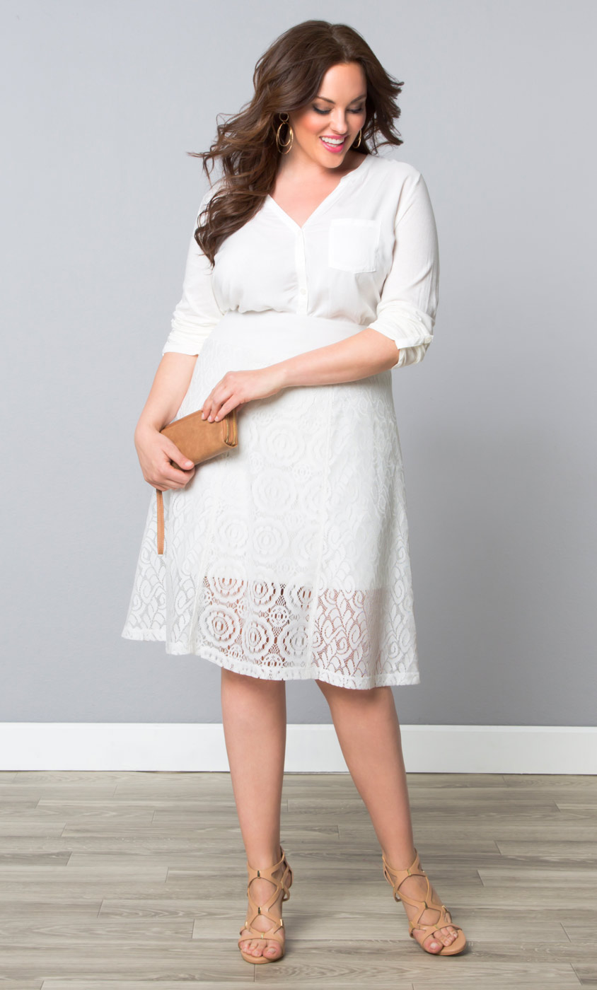 Plus Size Skirt Muse Lace Midi Skirt