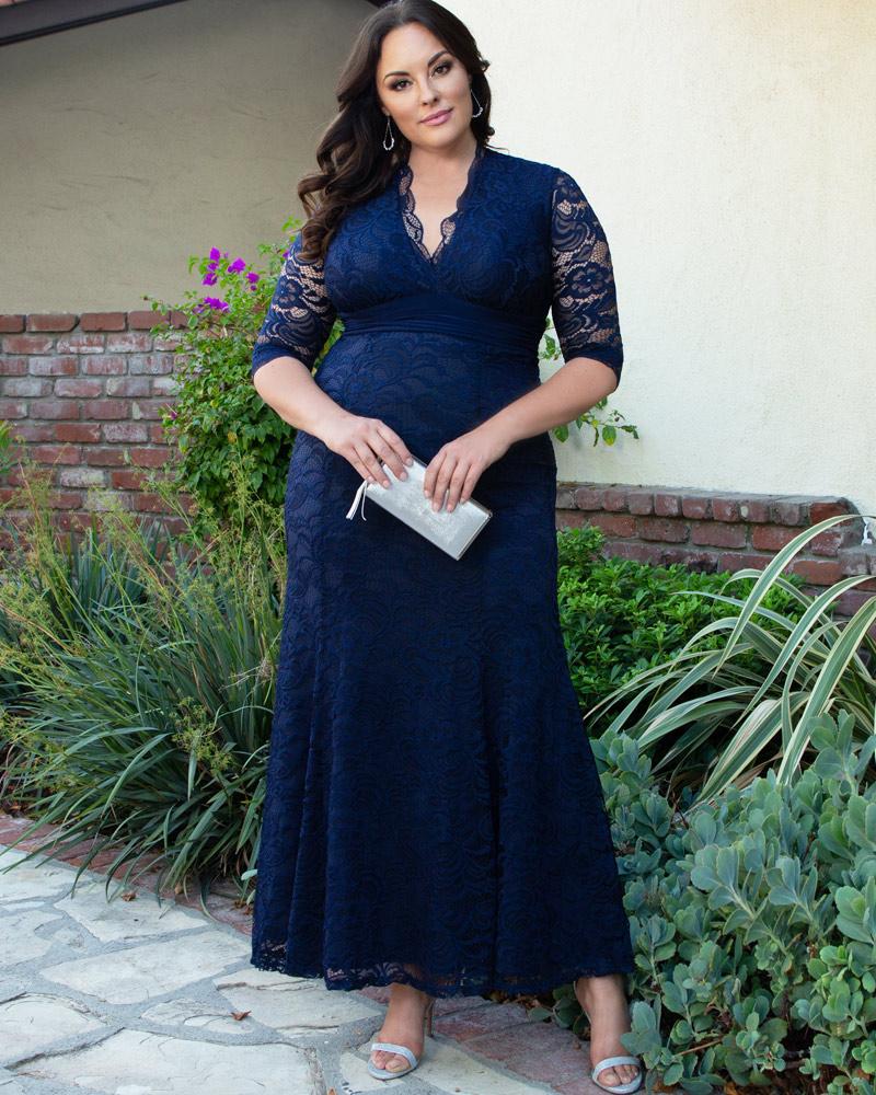 Kiyonna Womens Plus Size Screen Siren Lace Evening Gown